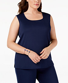 Kasper Plus Size Knit U-Neck Shell