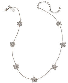 "kate spade new york Gold-Tone Pavé Flower Station Necklace, 17"" + 3"" extender"