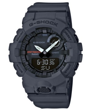 Dusky gray characterizes the strap and dial of this powerful step-tracking and goal-measuring watch from G-Shock. Style #GBA800-8A