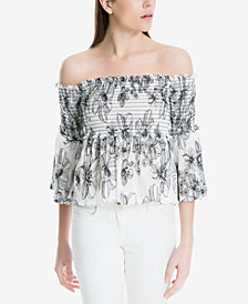 Max Studio London Smocked Cotton Off-The-Shoulder Top, Created for Macy's