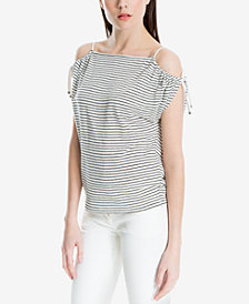 Max Studio London Striped Cold-Shoulder Top, Created for Macy's