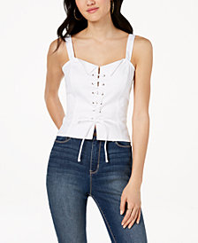XOXO Juniors' Cotton Lace-Up Crop Top