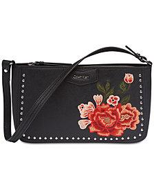 Calvin Klein Leather Floral Shoulder Bag