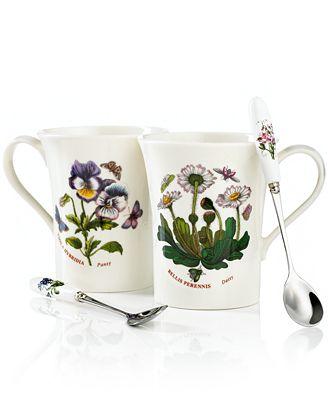 Portmeirion Dinnerware Set Of 2 Botanic Garden Mugs With Spoons Dinnerware Dining