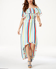 XOXO Juniors' Striped Tassel-Trimmed High-Low Maxi Dress