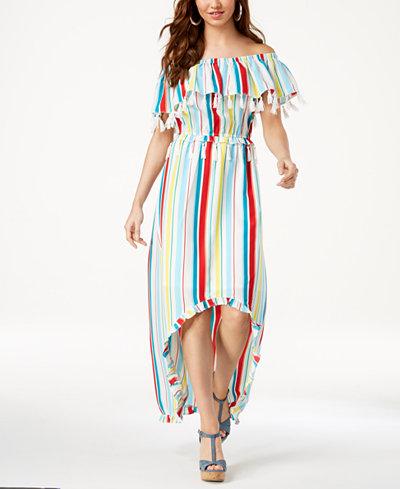 XOXO Juniors' Striped Tassel-Trimmed High-Low Maxi Dress