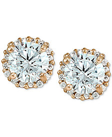 Giani Bernini Cubic Zirconia Halo Stud Earrings in 18k Gold-Plated Sterling Silver, Created for Macy's