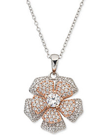 "Giani Bernini Cubic Zirconia Pavé Spin Flower 18"" Pendant Necklace in Sterling Silver & 18k Rose Gold-Plate, Created for Macy's"