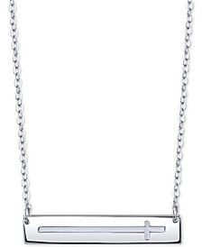 "Unwritten East-West Cross Horizontal Bar 18"" Pendant Necklace in Sterling Silver"