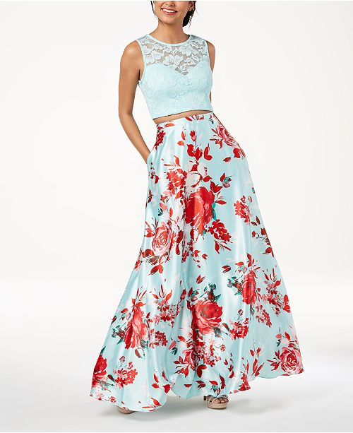 3a2ca34ab227 B Darlin Juniors' Lace-Top Printed-Skirt 2-Pc. Gown & Reviews ...