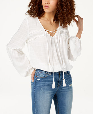 Juniors' Tie Neck Peasant Top, Created For Macy's by American Rag