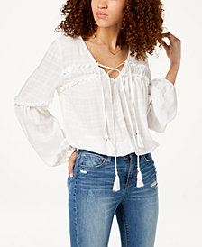 American Rag Juniors' Tie-Neck Peasant Top, Created for Macy's