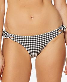 Jessica Simpson Gingham-Print Ruffled Cheeky Bikini Bottoms