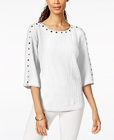 JM Collection Textured Stud-Trim Top, Created for Macy's