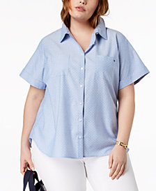 Tommy Hilfiger Plus Size Cotton Short-Sleeve Shirt, Created for Macy's