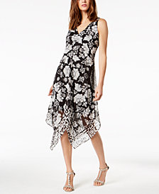 I.N.C. Floral-Print Handkerchief-Hem Top, Created for Macy's