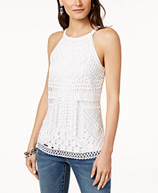 I.N.C. Petite Crochet-Front Tank Top, Created for Macy's