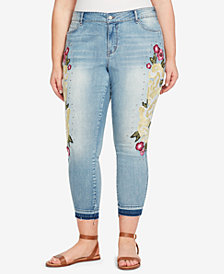 WILLIAM RAST Plus Size Embroidered Skinny Ankle Jeans