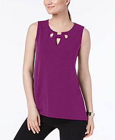Alfani Petite Split-Neck Top, Created for Macy's