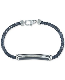 Diamond Link Bracelet (1/10 ct. t.w.) in Black Stainless Steel, Created for Macy's
