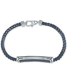 Esquire Men's Jewelry Diamond Link Bracelet (1/10 ct. t.w.) in Black Ion-Plated Stainless Steel, Created for Macy's