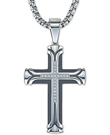 "Diamond Cross 22"" Pendant Necklace (1/10 ct. t.w.) in Ion-Plated Stainless Steel, Created for Macy's"