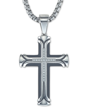 """Diamond Cross 22"""" Pendant Necklace (1/10 ct. t.w.) in Ion-Plated Stainless Steel"""