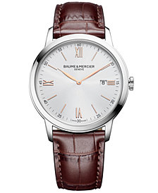 Baume & Mercier Men's Swiss Classima Red-Brown Leather Strap Watch 42mm