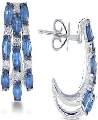 Sapphire (2 ct. t.w.) & Diamond (1/5 ct. t.w.) Oval Stud Earrings in 14k White Gold