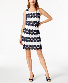 Charter Club Crochet-Lace Shift Dress, Created for Macy's