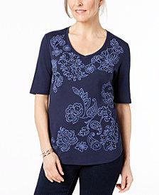 Karen Scott Printed Studded T-Shirt, Created for Macy's