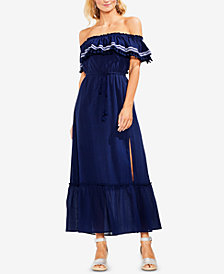 Vince Camuto Off-The-Shoulder Cotton Maxi Dress