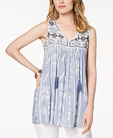 Style & Co Embroidered Mixed-Print Peasant Top, Created for Macy's