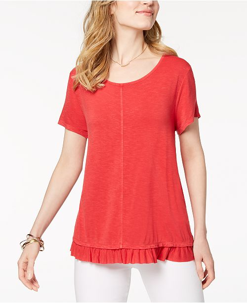 Style & Co Petite Ruffled-Hem Top, Created for Macy's