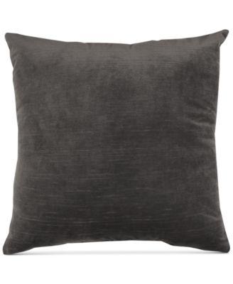 "Gray Velvet 20"" Square Pair of Decorative Pillows"