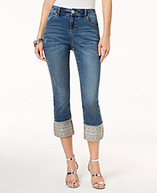 I.N.C. Curvy-Fit Embroidered Cuffed Jeans, Created for Macy's