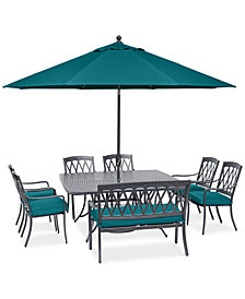 "CLOSEOUT! Glenwood Outdoor  8-Pc. Dining Set (64"" X 64"" Dining Table, 6 Dining Chairs & 1 Bench) with Sunbrella® Cushions, Created for Macy's"