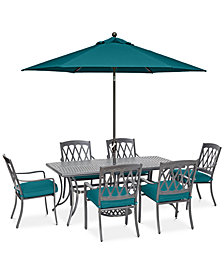 "CLOSEOUT! Glenwood Outdoor 7-Pc. Dining Set (72"" x 38"" Dining Table & 6 Dining Chairs) with Sunbrella® Cushions, Created for Macy's"