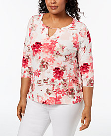 Calvin Klein Plus Size Printed Keyhole Top, Created for Macy's