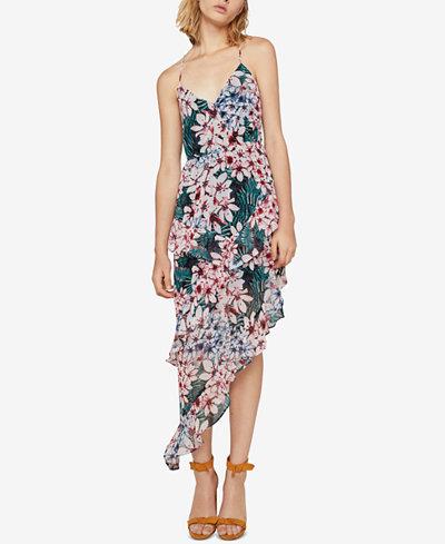 BCBGeneration Floral-Print Tiered Asymmetrical Maxi Dress