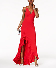 Betsy & Adam Plunging Ruffled Gown