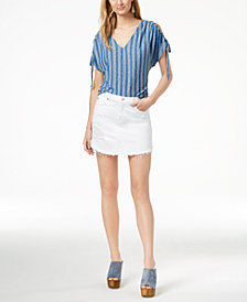 7 For All Mankind Ripped Frayed-Hem Denim Skirt