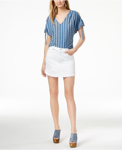 4f59e8be5a 7 For All Mankind Ripped Frayed-Hem Denim Skirt & Reviews - Skirts ...