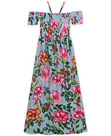 Rare Editions Big Girls 2-Pc. Floral-Print Maxi Dress & Necklace Set