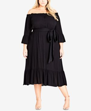 TRENDY PLUS SIZE OFF-THE-SHOULDER MIDI DRESS