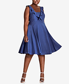 City Chic Trendy Plus Size Ruffled A-Line Dress