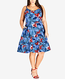City Chic Trendy Plus Size Tropical-Print Fit & Flare Dress