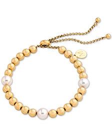 Majorica Gold-Tone Bead & Imitation Pearl Slider Bracelet