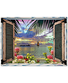 "Leo Kelly Tropical Window to Paradise III 24"" x 32"" Canvas Art Print"