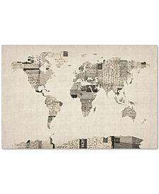 "Michael Tompsett Vintage Postcards World Map 30"" x 47"" Canvas Art Print"